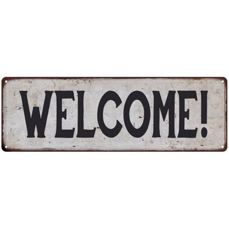 Retro Chick - WELCOME! Vintage Look Rustic 8x24 Metal Sign Chic Retro 108240035042