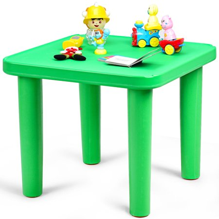 Kids Plastic Table and 4 Chairs Set Colorful Playroom School Home Furniture New - image 2 de 10