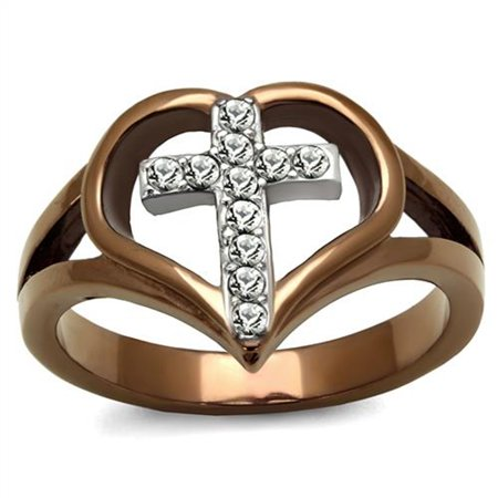 Light Coffee Stainless Steel Crystal Cross & Heart Fashion Ring Womens Size (Light Stainless Steel Face Ring)