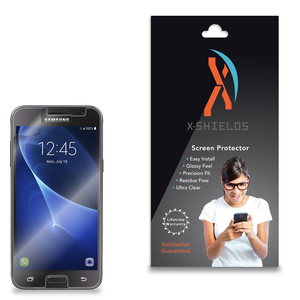 XShields© High Definition (HD+) Screen Protectors for Samsung Galaxy J3 Sky (Maximum Clarity) Super Easy Installation [2-Pack] Lifetime Warranty, Advanced Touchscreen Accuracy