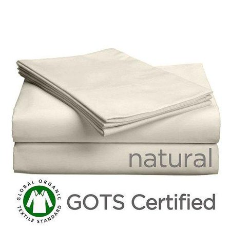 Leather Queen Sleeper (Gotcha Covered PURE Collection QUEEN Size American Leather Comfort Sleeper Organic Cotton Sateen Sheet Set - Sleeper Profile Up to 5 in. Natural)