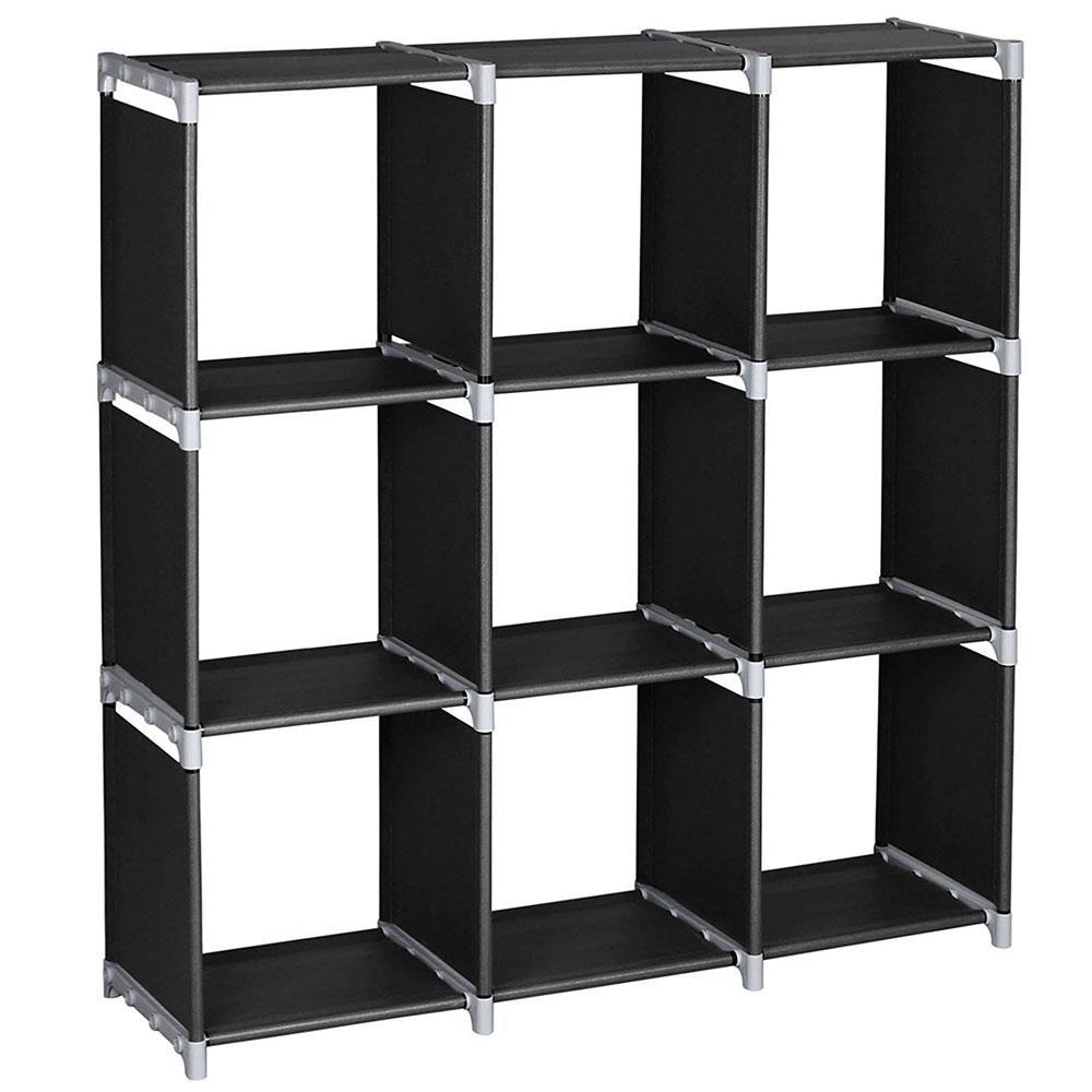 Storage Organizer 9 Black Doll Book Rack loset Stacker Clothes Modular Cubes
