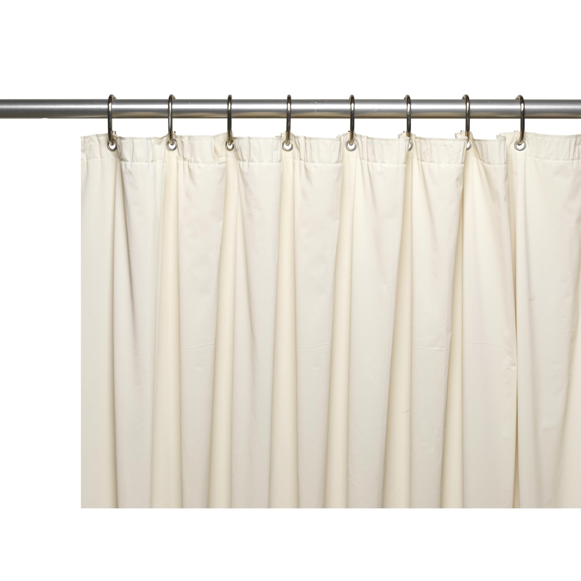 Extra Long (70'' x 84'') Mildew-Resistant, 10 Gauge Vinyl Shower Curtain Liner w/ Metal Grommets and Reinforced Mesh Header in Bone