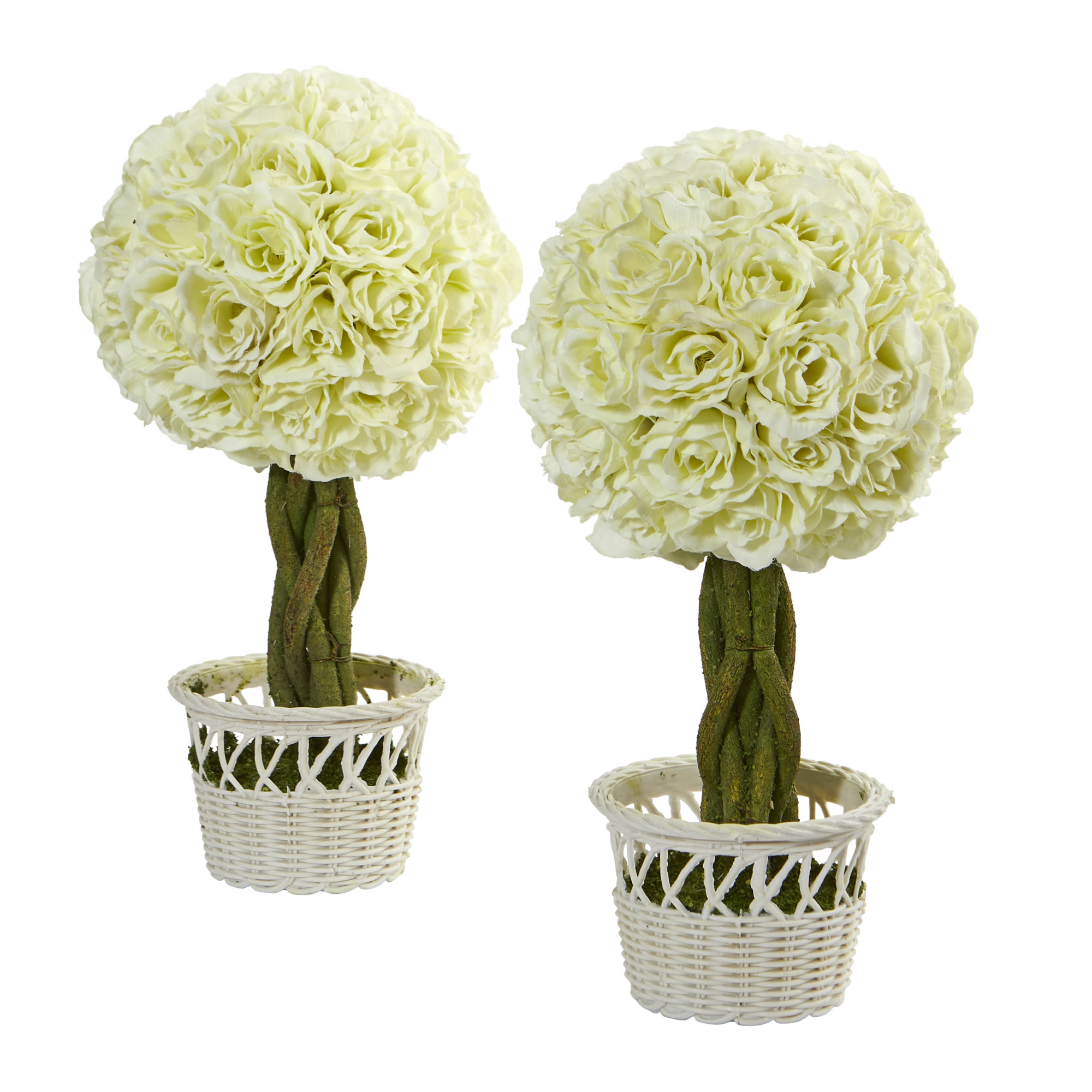 Nearly Natural 13 in. Rose Topiary Artificial Plant in White Wicker Pot, Set of 2