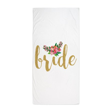 CafePress - Gold Glitter Bride Text Floral Accent - Large Beach Towel, Soft 30