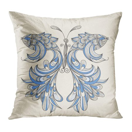 ECCOT Blue Fish Butterfly Wings Fishes Separately Feather Peacock Abstract Line Ornate Pillow Case Pillow Cover 18x18