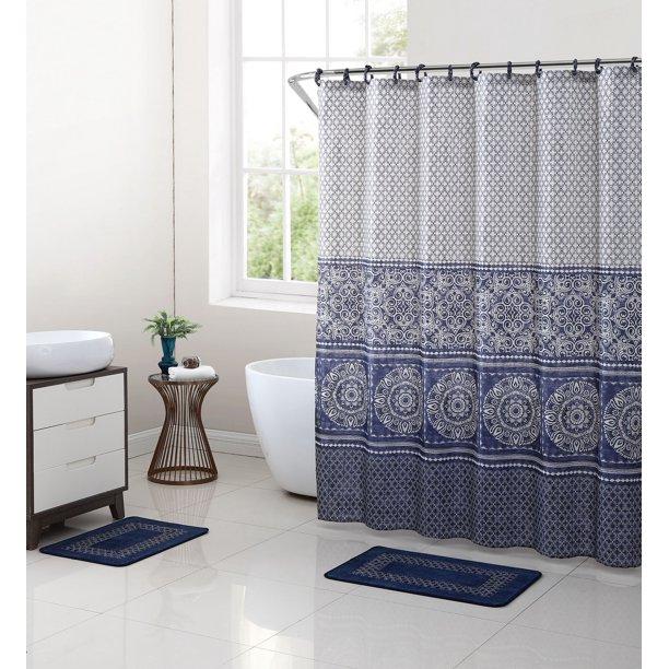Mainstays Blue Medallion Shower Curtain Bath Set 15 Piece Walmart Com Walmart Com