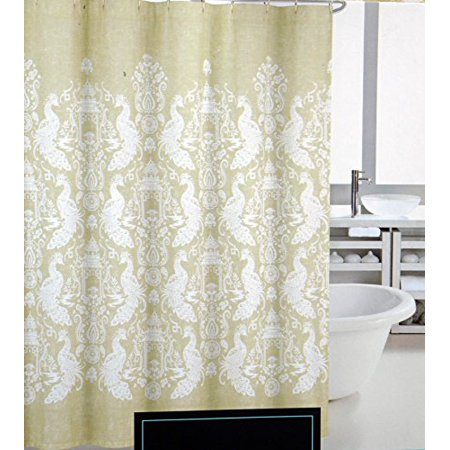 Cynthia Rowley Fabric Shower Curtain White Asian Oriental Pattern with Birds on Green -- Pagoda