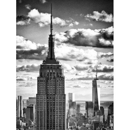 Cityscape Skyscraper, Empire State Building and One World Trade Center, Manhattan, NYC Print Wall Art By Philippe Hugonnard