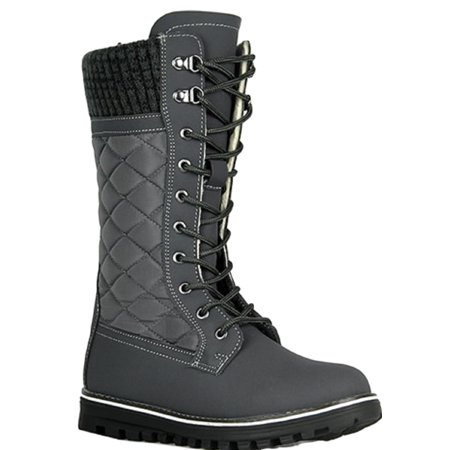 Polar-01 Ladies Waterproof Walking Warm Hiking Snow Rain Winter Mid Calf Boot Gray Cat Walking Boots