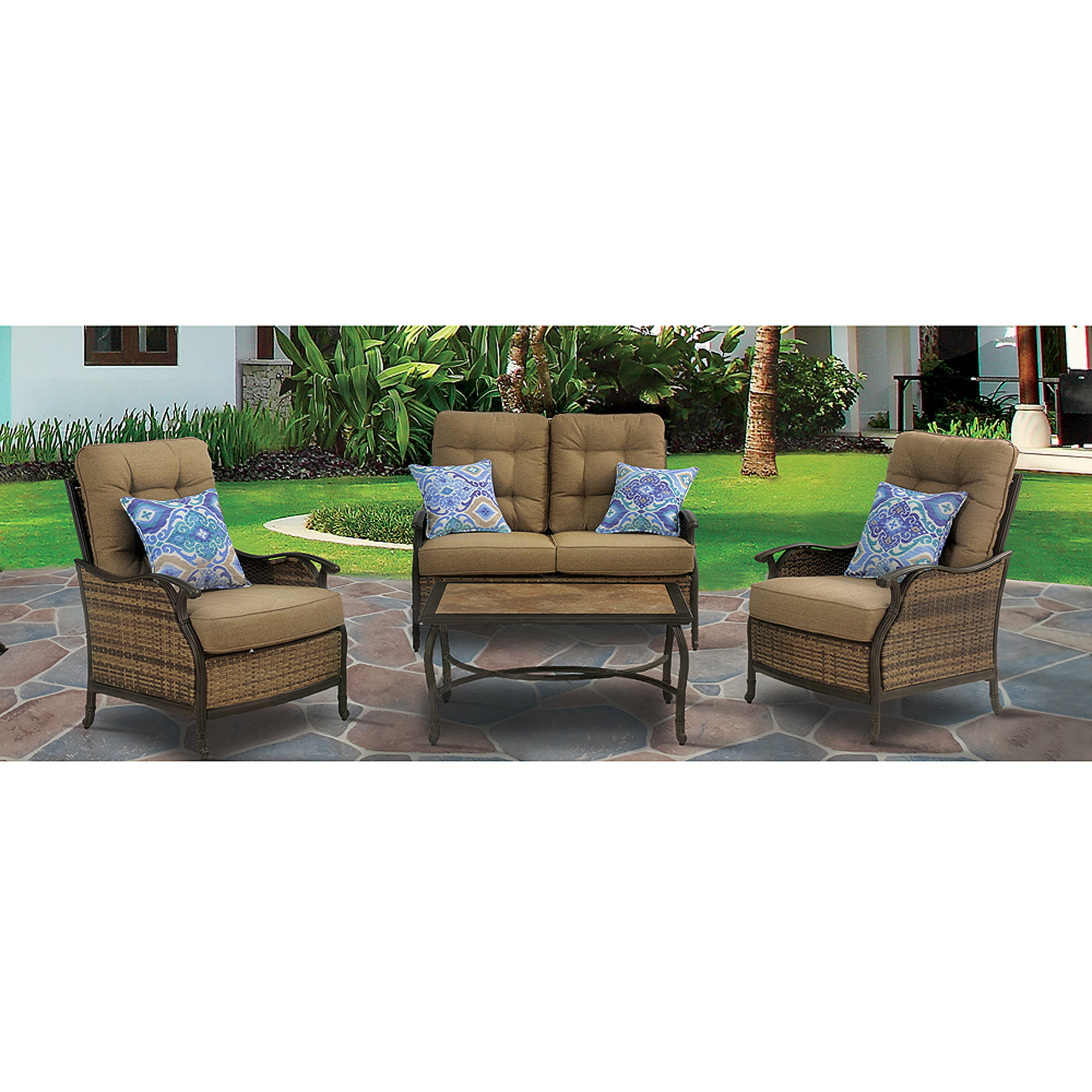 hanover hudson square 4-piece outdoor deep-seating lounge set