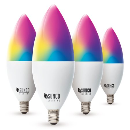 Sunco Lighting WiFi LED B11 Candelabra Smart Bulb, 4.5W, Color Changing (RGB & CCT), Dimmable, 480 lm, E12 Base, No Hub Required, Compatible with Various Smart Home Devices - 4 Pack Color Changing Led Bulb