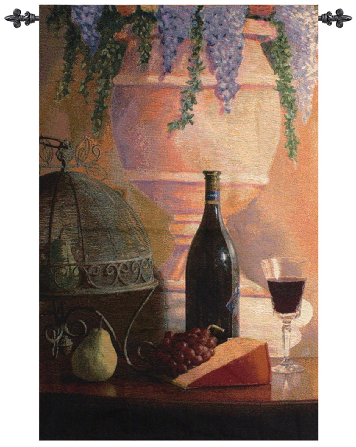 "An Elegant Afternoon with Lilacs Cotton Wall Artwork Hanging Tapestry 53"" x 35"" by Manual Weavers"