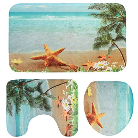 Sun Of Beach Non-slip 3Pcs Bathroom Set Toilet Lid Cover Pad + Pedestal Rug + Floor Carpet Mat ()