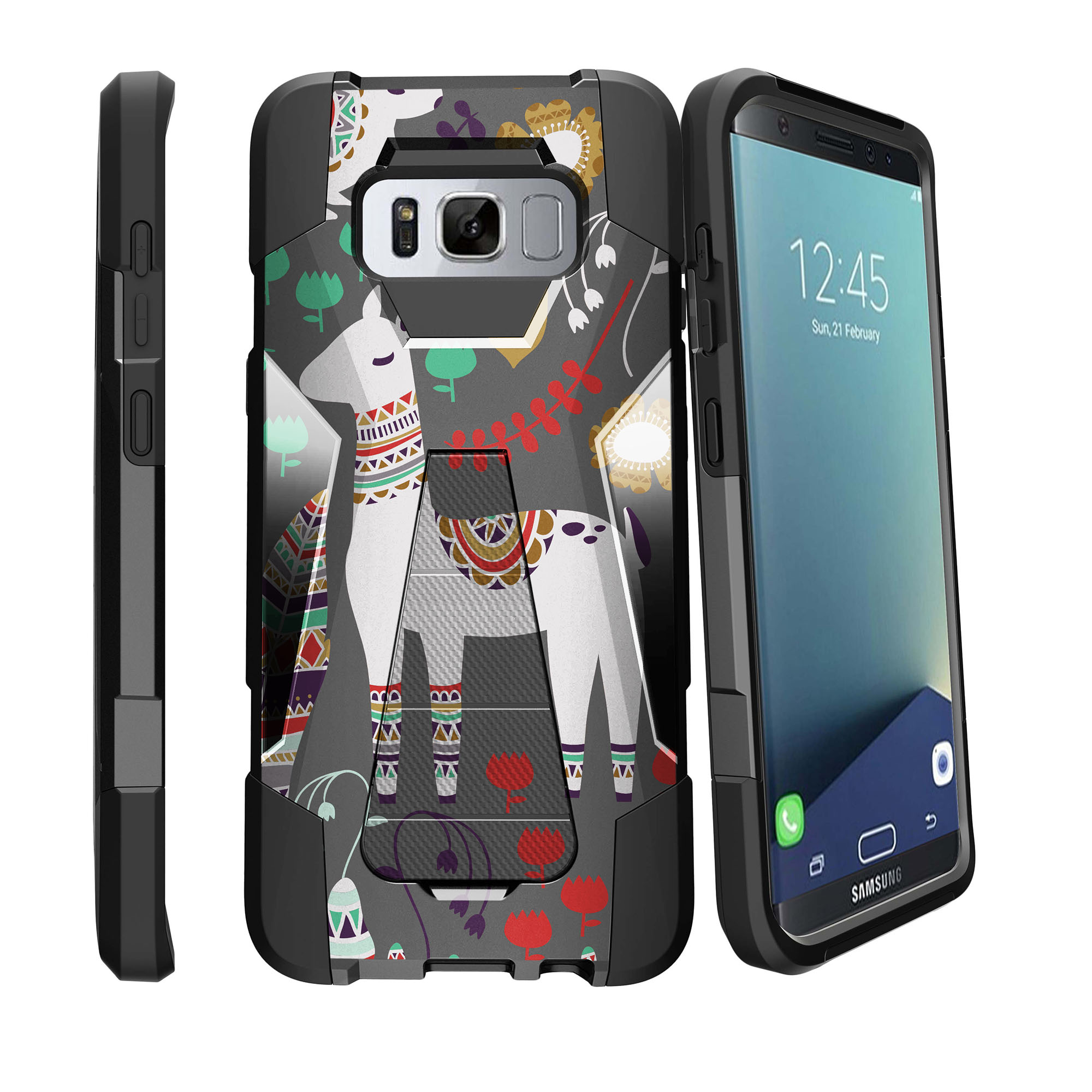 Case for Samsung Galaxy S8 PLUS version | S8 PLUS version Hybrid Case [ Shock Fusion ] Hybrid Layers and Kickstand Case Tribal Collection
