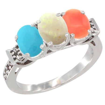 14K White Gold Natural Turquoise, Opal & Coral Ring 3-Stone Oval 7x5 mm Diamond Accent, sizes 5 - 10