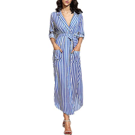 Striped V-neck Dress (Women Sexy V-neck Striped Beach Party Belted Shirt)