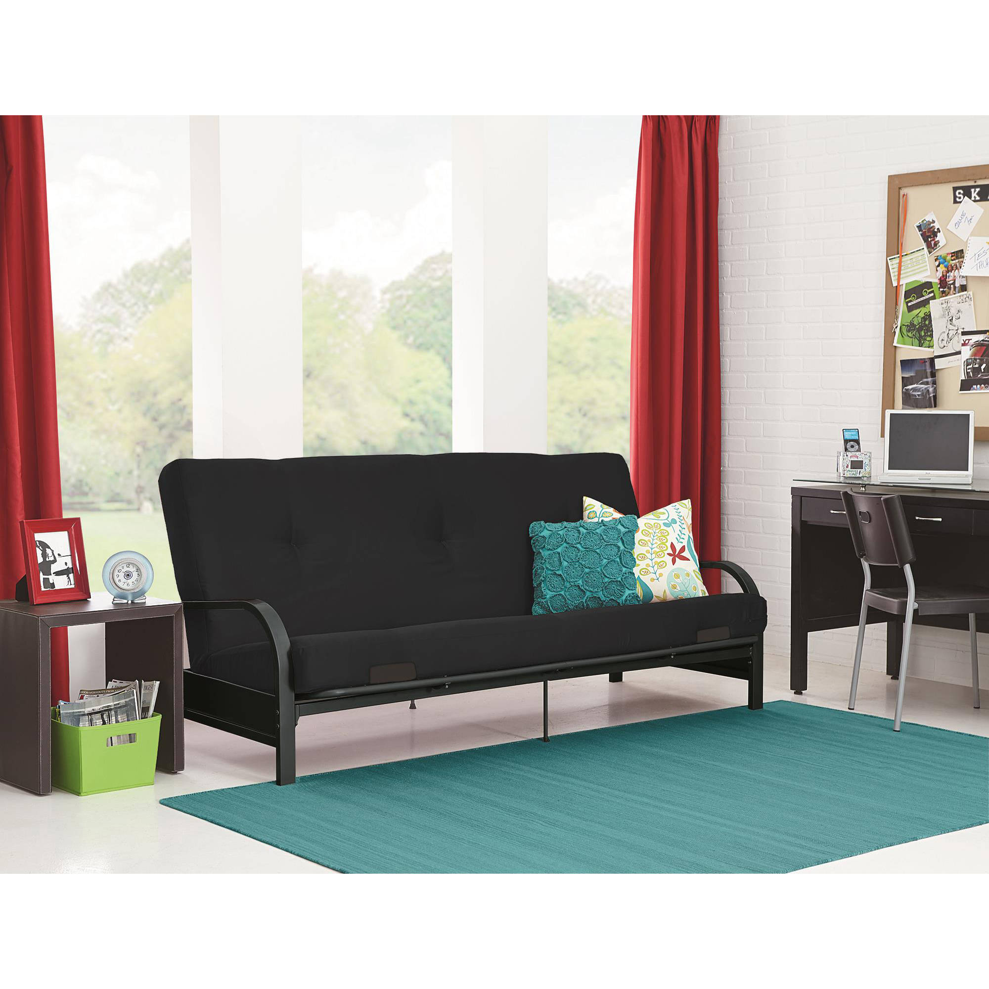 Picture of: Mainstays Black Metal Arm Futon With Full Size Mattress Multiple Colors Available Walmart Com Walmart Com