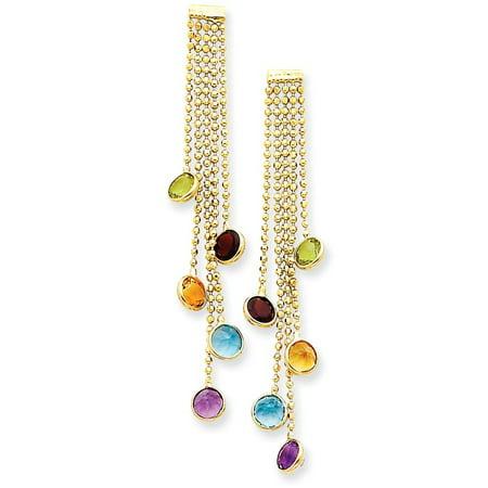 - 14K Yellow Gold Round Cut Garnet, Peridot and Citrine Dangle Earrings