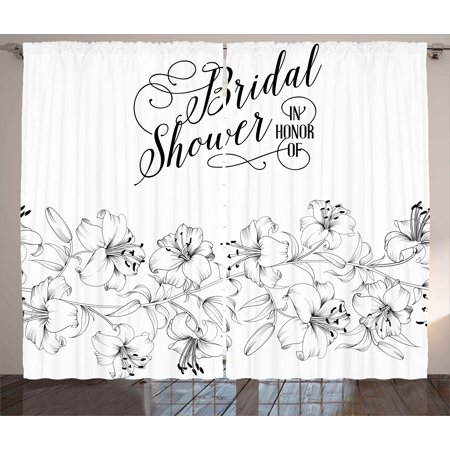Bridal Shower Decorations Curtains 2 Panels Set, Romantic Bride Party with Flowers Buds and Leaves Image, Window Drapes for Living Room Bedroom, 108W X 84L Inches, Black and White, by Ambesonne