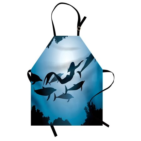 Underwater Apron The Mermaid and Dolphins Underwater View Travel Diving Fin Sea Life, Unisex Kitchen Bib Apron with Adjustable Neck for Cooking Baking Gardening, Blue Black Petrol Blue, by Ambesonne (Dolphins Aprons)
