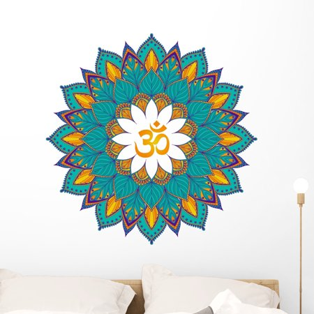 Turquoise Ethnic Om Mandala Wall Decal Wallmonkeys Peel and Stick Graphics (36 in H x 36 in W) WM502788 (Om Vinyl Wall Decal)