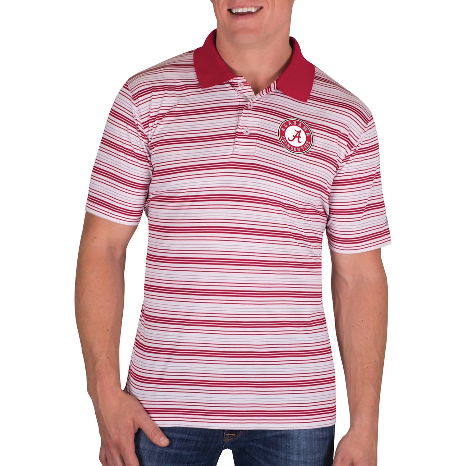 NCAA Alabama Crimson Tide Men's Classic-Fit Striped Polo Shirt