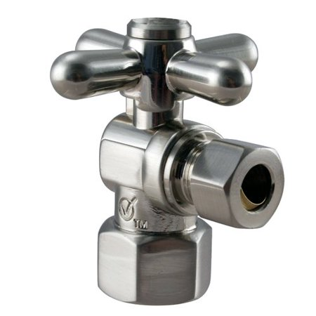 Westbrass Angle Stop, 1/2 in. IPS x 3/8 in. OD - 1/4-Turn Cross Handle D103BX in Satin Nickel