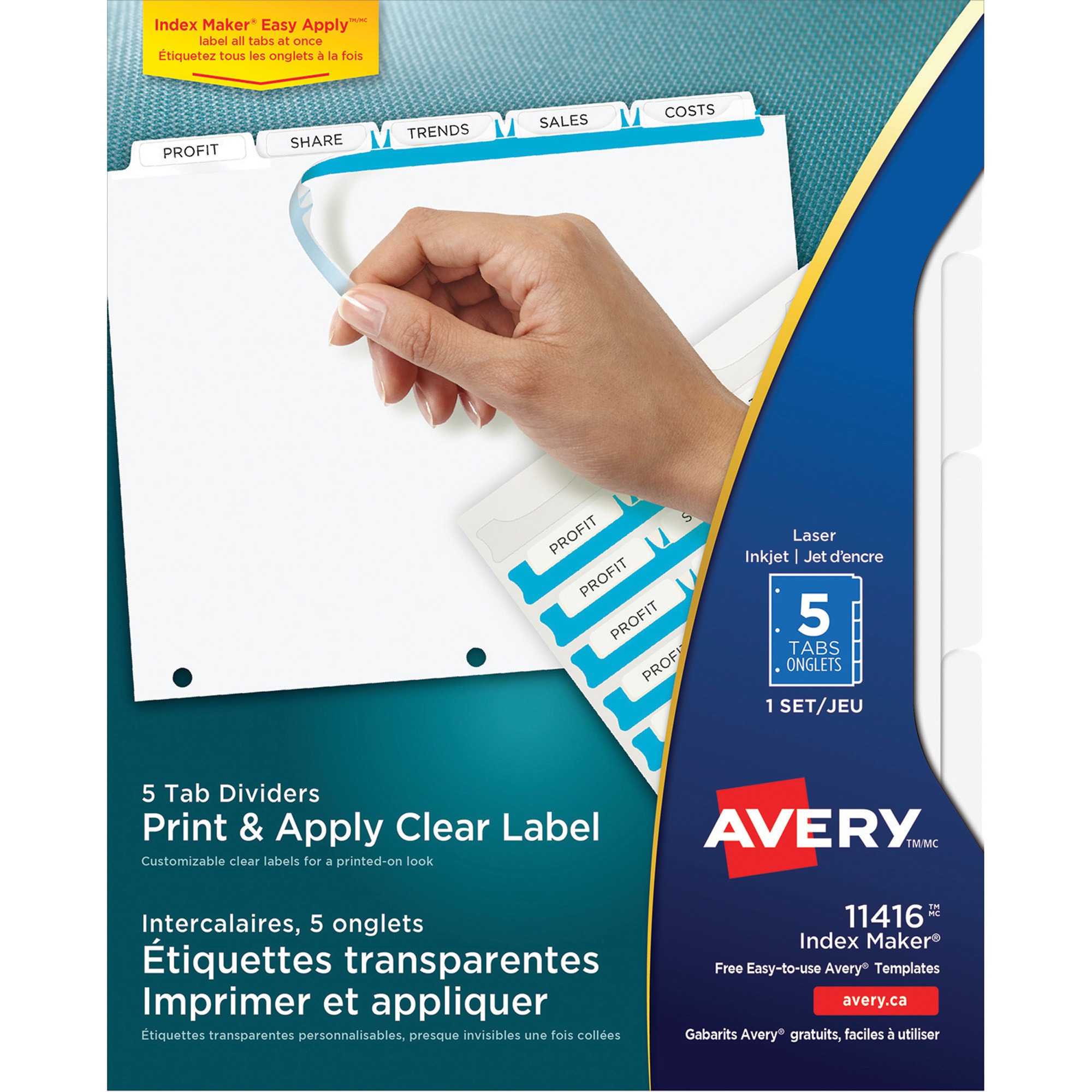 Avery Index Maker Print Apply Clear Label Dividers Wwhite Tabs 5