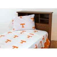 Tennessee Volunteers 100% cotton, 4 piece sheet set - flat sheet, fitted sheet, 2 pillow cases, Full, Team Colors