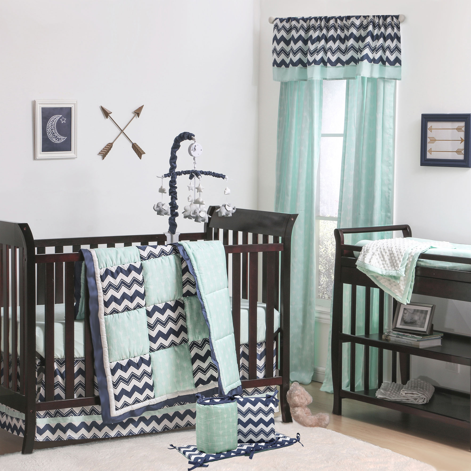 The Peanut Shell 5 Piece Baby Crib Bedding Set - Navy Blue Zig Zag Geometric and Mint Green Arrow Print - 100% Cotton Quilt, Bumper, Dust Ruffle, Fitted Sheet, and Mobile