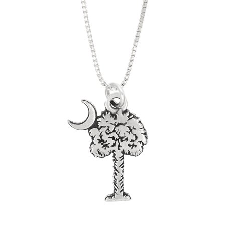 Half Moon Charm - Sterling Silver Palmetto Tree Palm Tree with Crecent Moon Charm Necklace