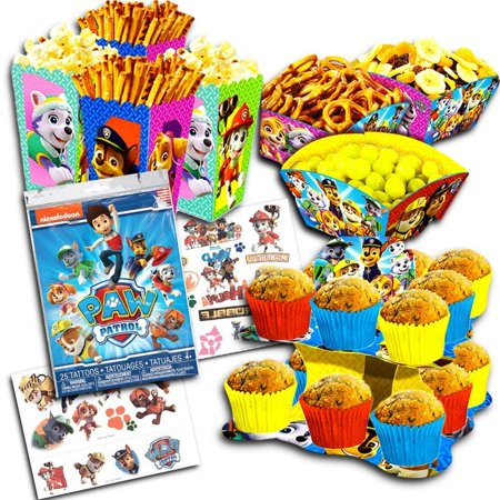Paw Patrol Party Decorations Set Cupcake Stand Snack Bowls Boxes Tattoos Supplies