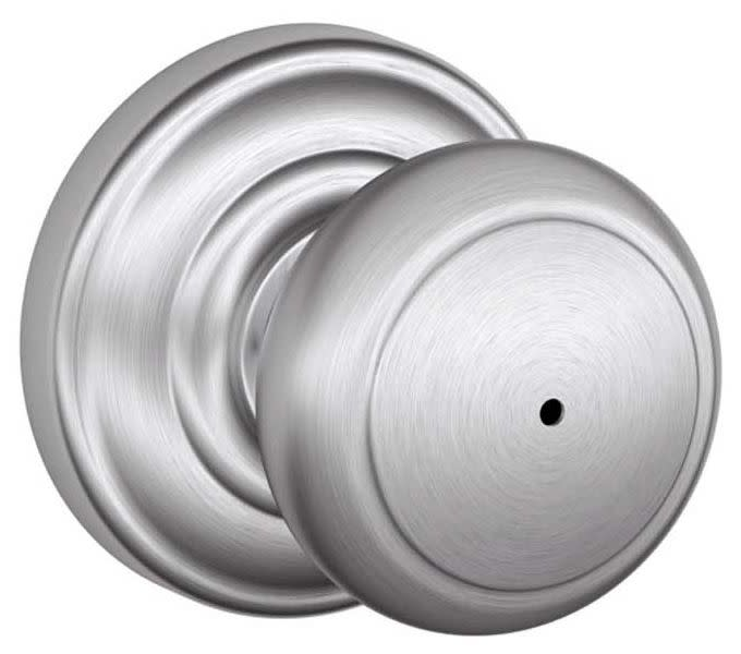 Polished Brass x Polished Chrome Schlage F40-AND Andover Privacy Door Knob Set from the F-Series