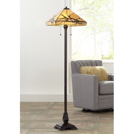 Robert Louis Tiffany Mission Floor Lamp Bronze Handcrafted Tiffany Style Stained Glass for Living Room Reading Bedroom Office ()