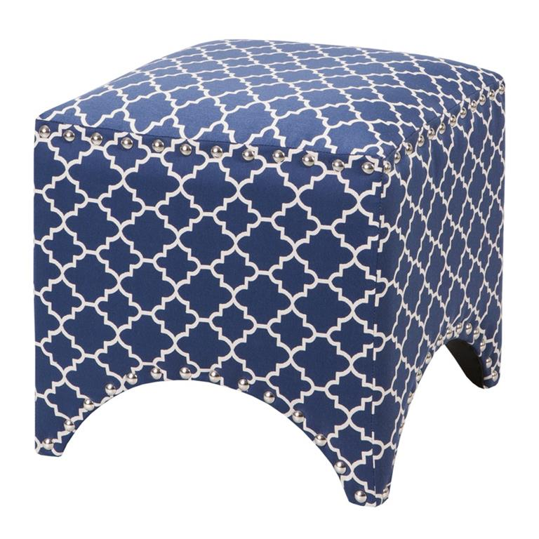 Madison Park Rileigh Quatrefoil Ottoman In Navy
