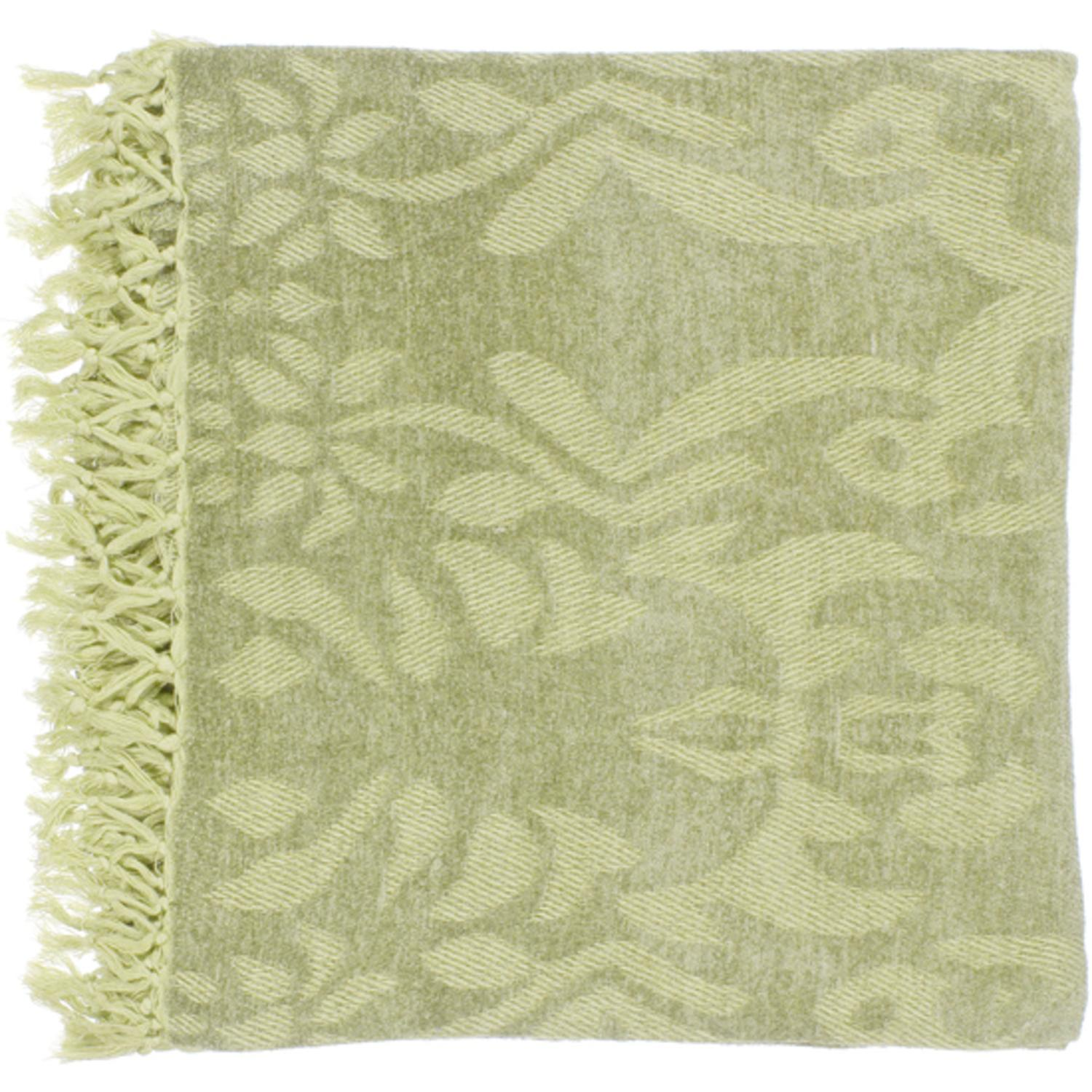 "50"" x 70"" Floral Scroll Fern Green Viscose Throw Blanket"