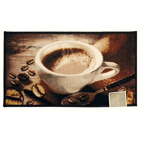 - Kashi Home Rectangle Mat with Latex Back Coffee Bean Collection Kitchen Rug, 18