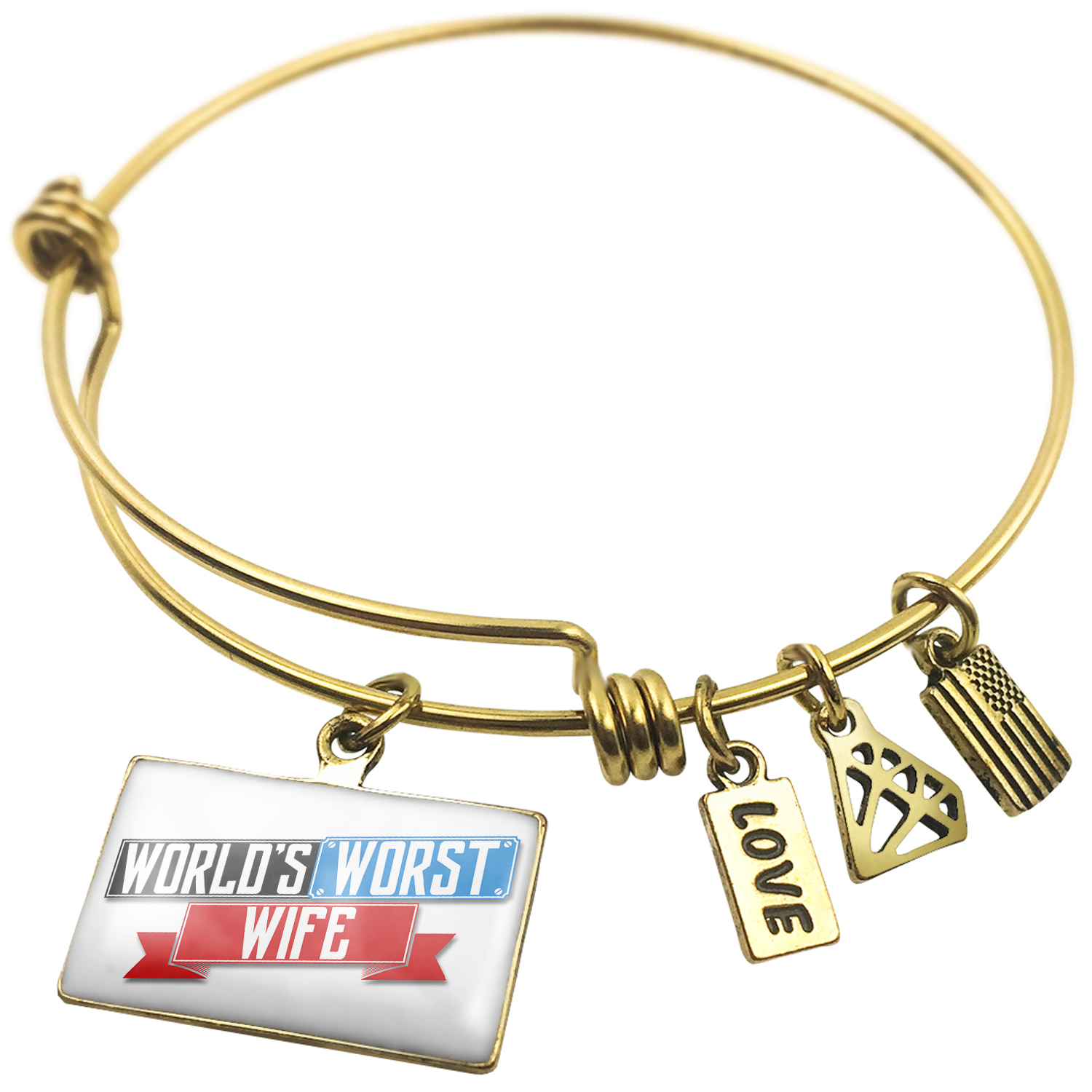Expandable Wire Bangle Bracelet Funny Worlds worst Wife - NEONBLOND
