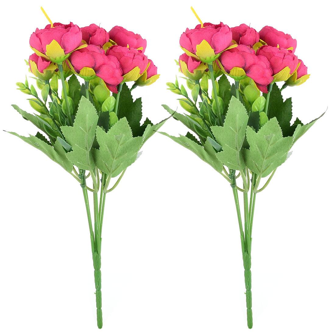 Wedding Fabric Camellia Shaped DIY Craft Artificial Flower Bouquet Fuchsia 2pcs