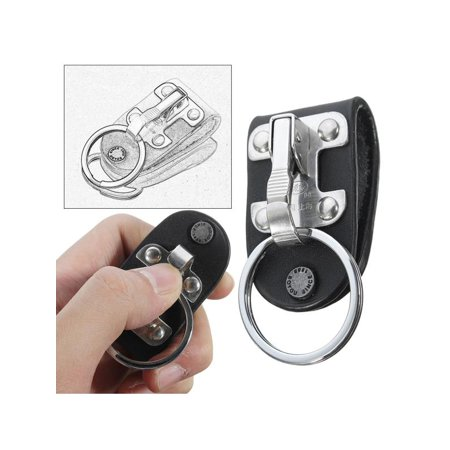 Leather Keychain Ring - Stainless Steel Black Leather Detachable Key Chain Belt Clip Ring Holder Keyring