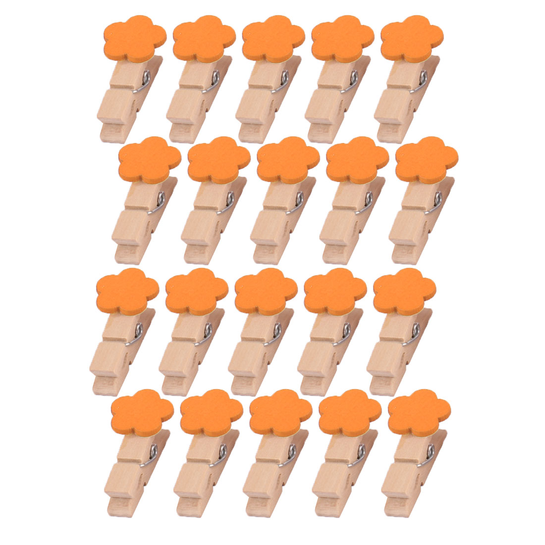 Wooden Flower Shaped DIY Decoration Picture Photo Painting Clip Orange 20 Pcs