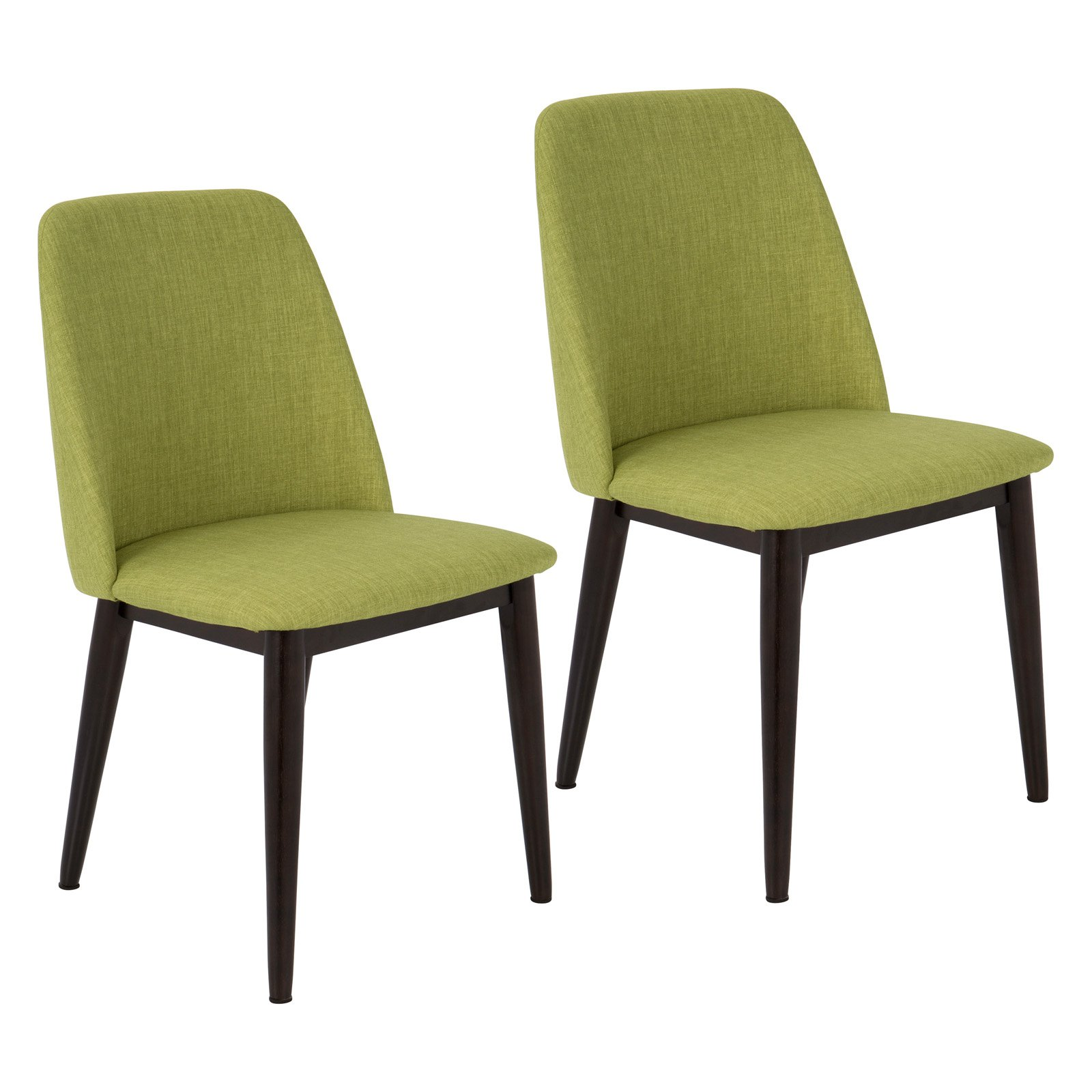 Tintori Contemporary Dining Chair in Green Fabric by LumiSource - Set of 2