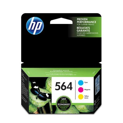 HP 564 Cyan, Magenta & Yellow Original Ink Cartridges, 3 pack (N9H57FN) ()