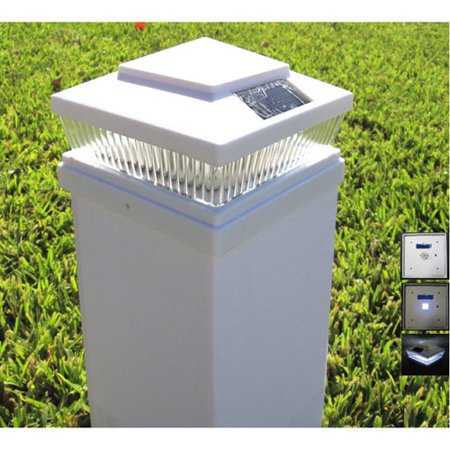 Plastic White 6x6 Outdoor 5 LED 78 Lumen Solar Post Cap Light