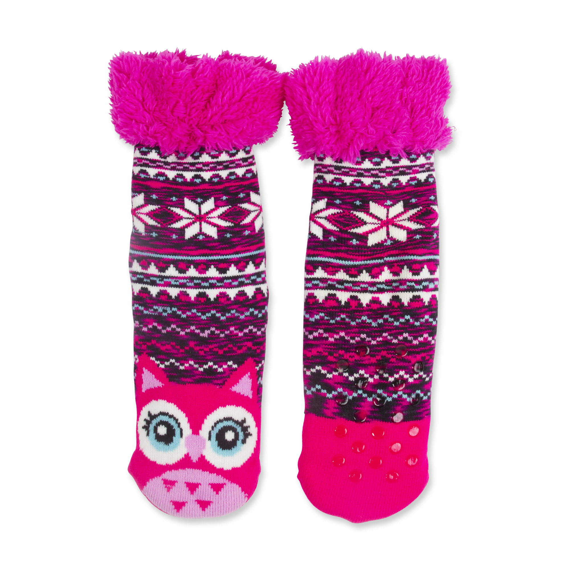Girls' Owl Fair Isle Fuzzy Babba Slipper Socks - Walmart.com