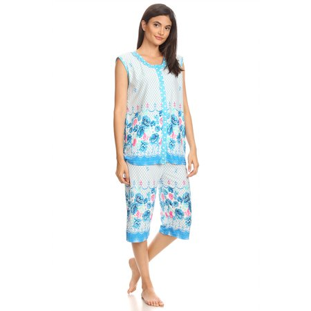 5026C Womens Capri Set Sleepwear Cotton Pajamas - Woman Sleeveless Sleep Nightshirt Blue # 58 L - Pj & Me