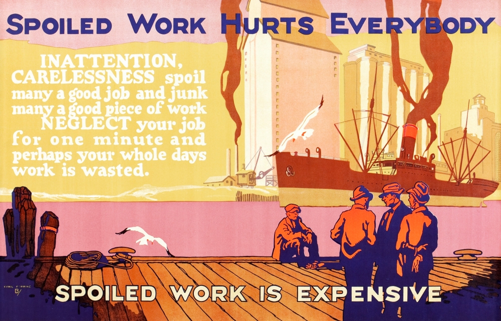 Mather /& Company Chicago printers who capitalized on the 1920s-era fascination with enhancing efficiency in the workplace produced this colorful motivational art to be hung in factories and offices Po