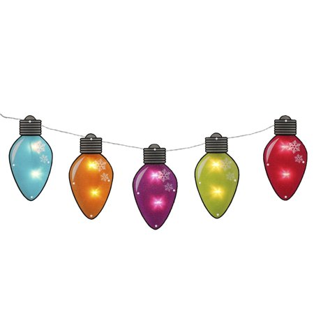 7.25' Multi-Color Shimmering C7 Bulb Christmas Light Garland with 10 Clear Mini Lights - White Wire