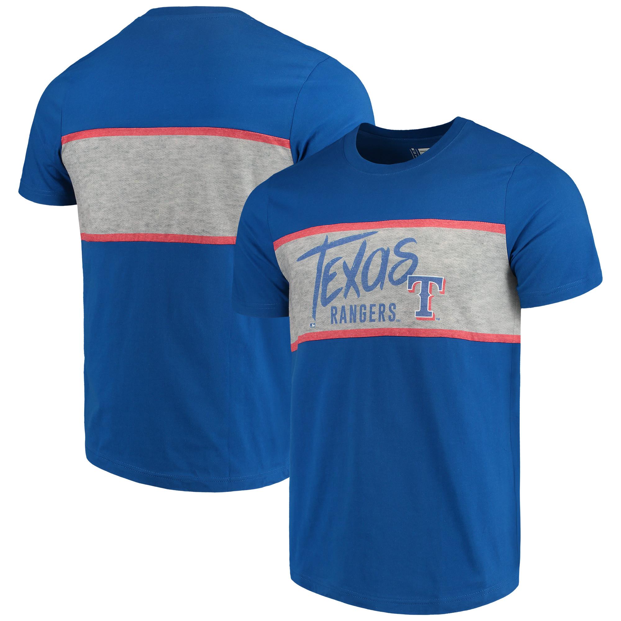 Texas Rangers Wordmark Panel T-Shirt - Royal